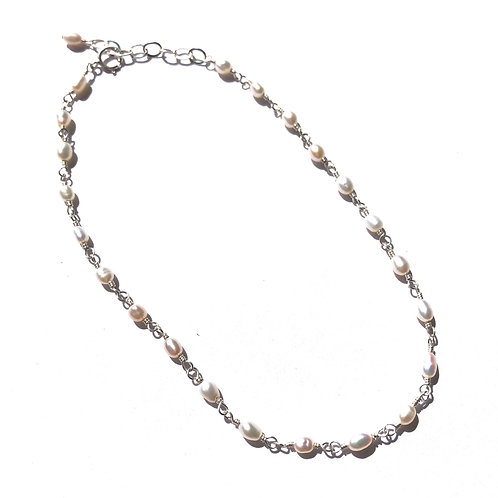 Sterling Silver White Freshwater Pearl Link Anklet