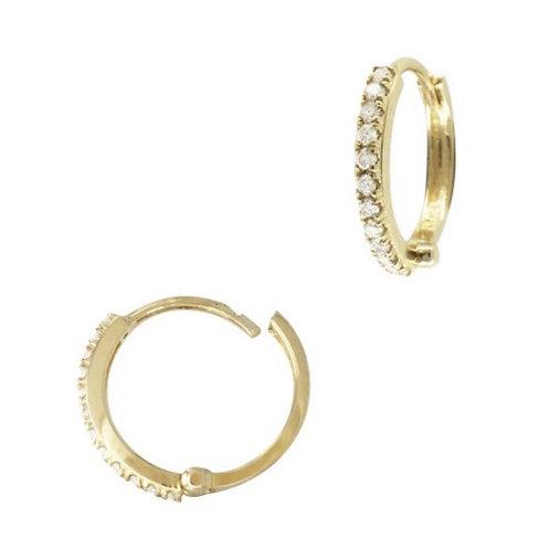 """14 Karat Yellow Gold"" 11mm Round Single Row Pave Diamond Hoop Earring"