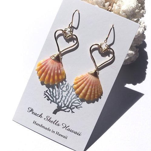 14K Gold Filled Heart with Sunrise Shell Earrings (2)