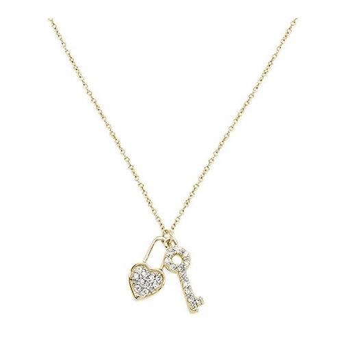 "14Karat Yellow Gold Round Diamond Key To My Heart Pendant Necklace 18"""