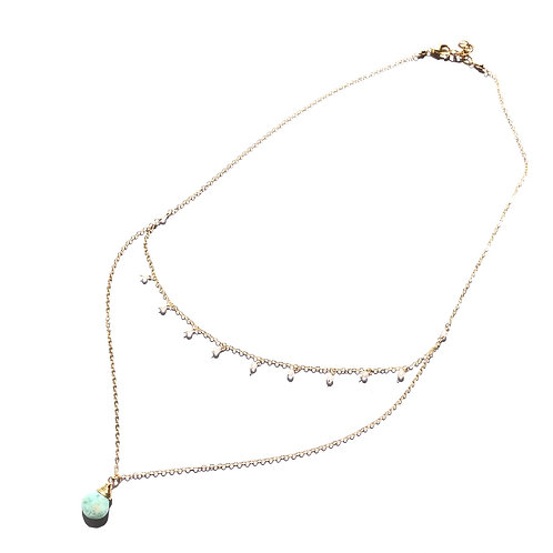 14KGF Layered Moonstone Accent Larimar Necklace
