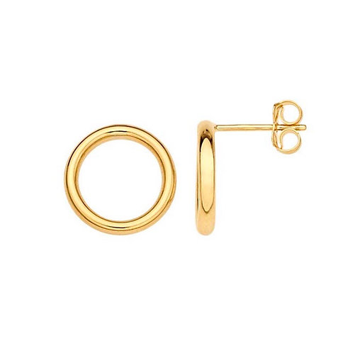 """14Karat Yellow Gold"" 13mm Open Circle Post Earrings"