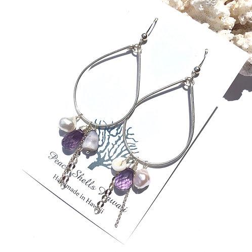 Sterling Silver Charm Earrings Amethyst
