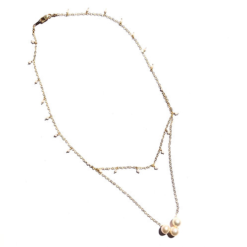14KGF Layered 3 Freshwater Pearl Necklace