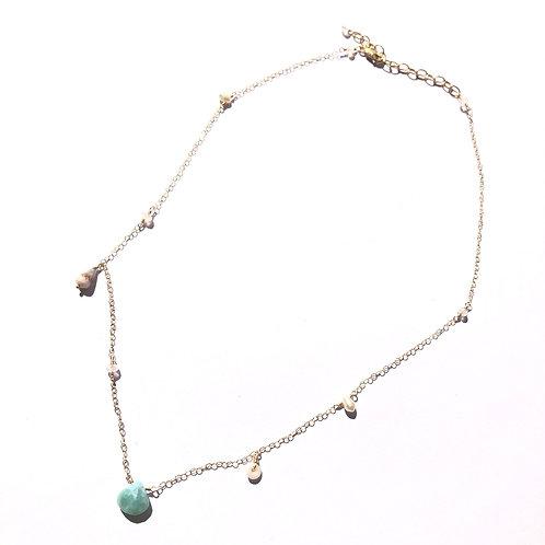 14KGF Larimar an Hawaiian shells Necklace