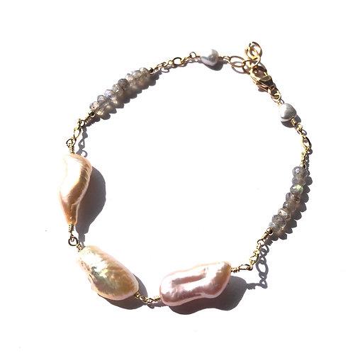3 Pink Keshi Pearl with Labradorite accent  Bracelet