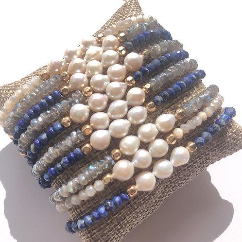 White Pearl with Gemstone Bracelet