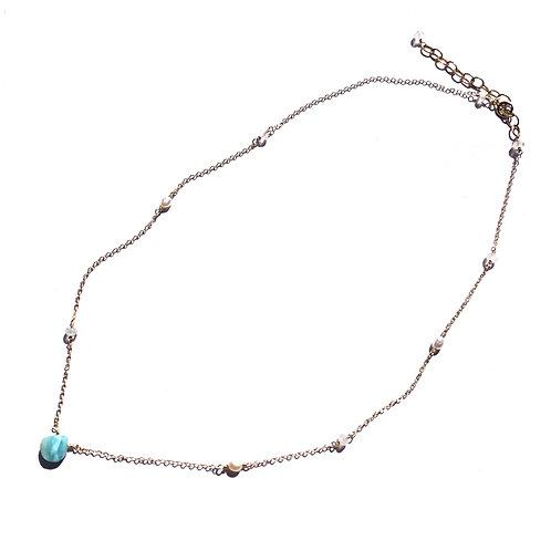 14KGF Rainbow Moonstone Link Larimar Necklace
