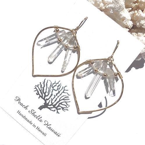 14KGF Lotus Crystal Quartz Earrings