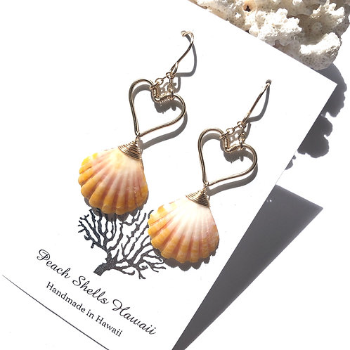 14KGF Heart Sunrise Shell Earrings (1)