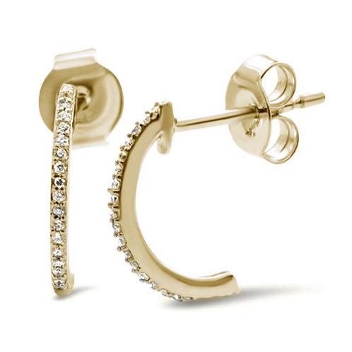 14k Yellow Gold J Hoop Cute .09ct  Diamond Earrings