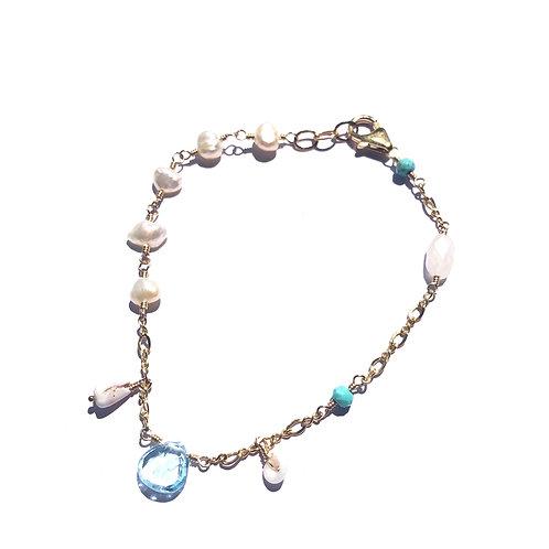 Blue Topaz Charm Bracelet