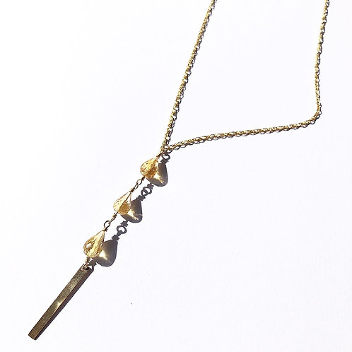14KGF Citrine w/Gold Bar Lariat Necklace