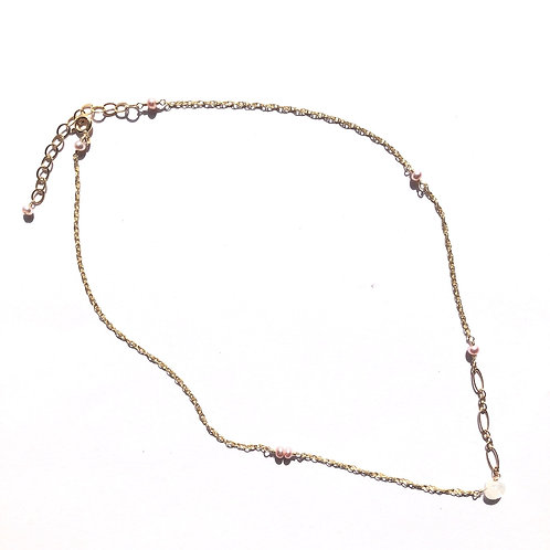 14KGF Rainbow Moonstone & Freshwater Pearl Necklace