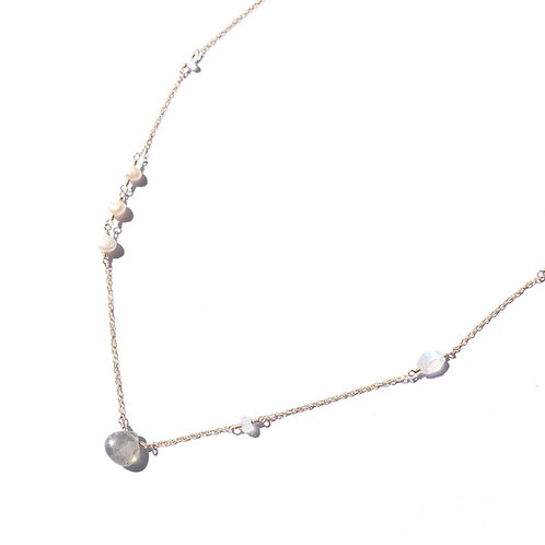 Labradorite Necklace With Links Moonstone and Freshwater Pearl