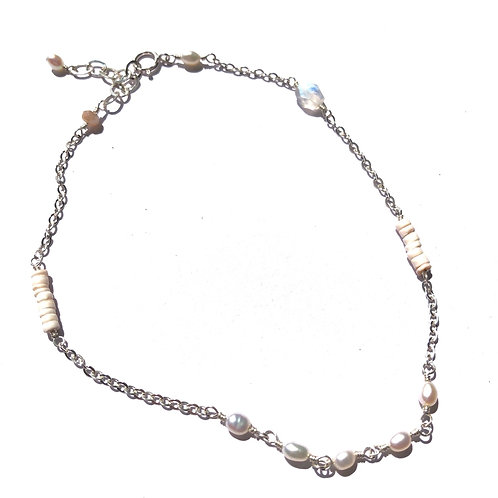 "SS FW Pearl Link Anklet 9""-10"" Adjustable"