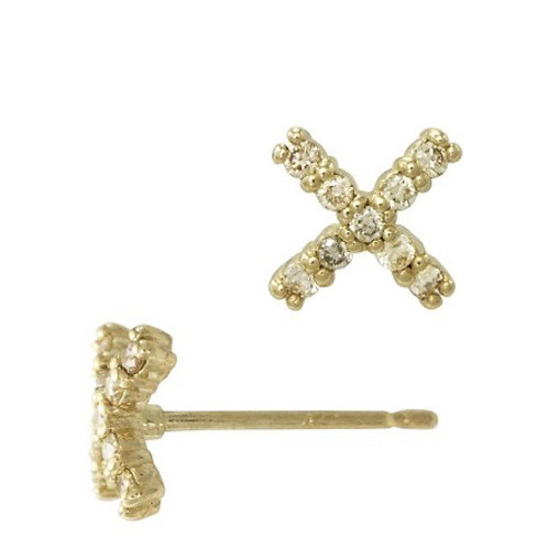 14Karat Gold 8mm X Criss Cross Stitch Stud Earring with Diamonds in Pave Setting