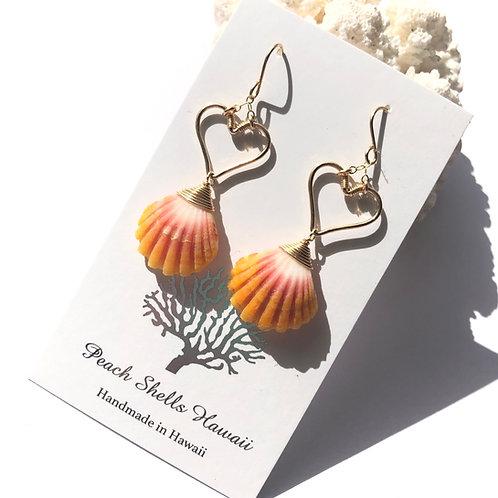 Heart With Hawaiian Sunrise Shell Earrings