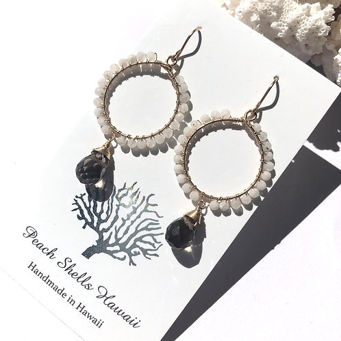 $414KGF Moonstone & Smokey Quartz Hoop Earrings