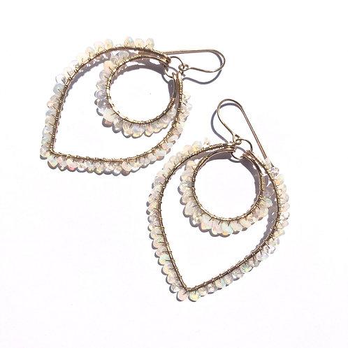 14KGF Lotus Ethiopian Opal Earrings