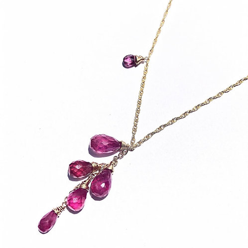 14KGF Pink Tourmaline Long Necklace
