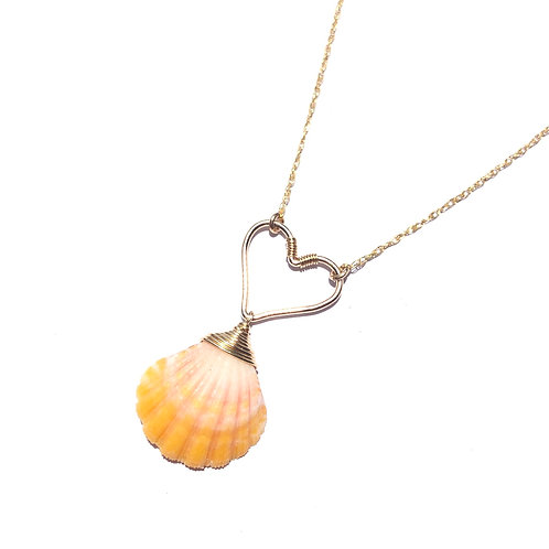 14K Gold Filled Hawaiian Sunrise Shell Woth Heart Necklace