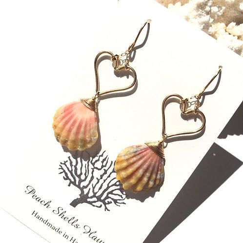 14KGF Heart Sunrise Shell Earrings (3)