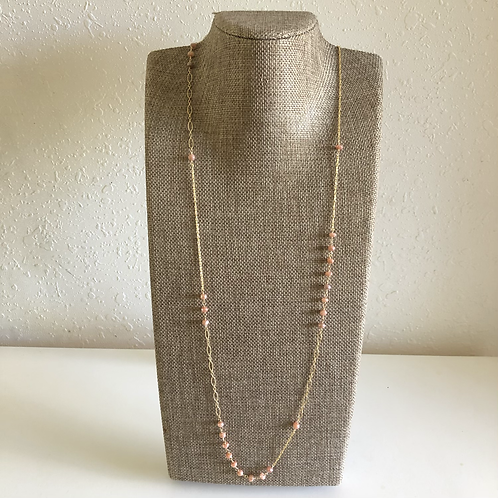 14KGF Peach Moonstone Link Long Necklace