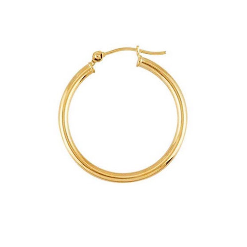 """14 Karat Yellow Gold"" 25mm Round / 2mm Tubing Hoop Earrings"