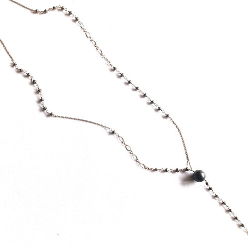 "14KGF Tahitian Pearl Pyrite Lariat Necklace 28"""