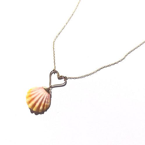 14K Gold Filled Hawaiian Sunrise Shell Heart Necklace