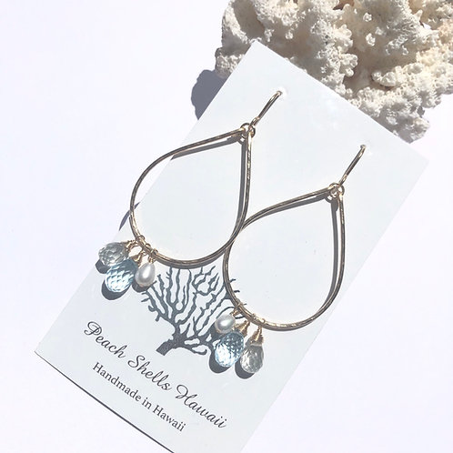 14KGF Teardrop Hoop Charm Earrings Blue Topaz