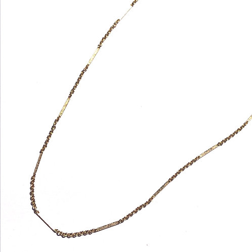 14K Gold Filled Cable And Bar Chain Necklace