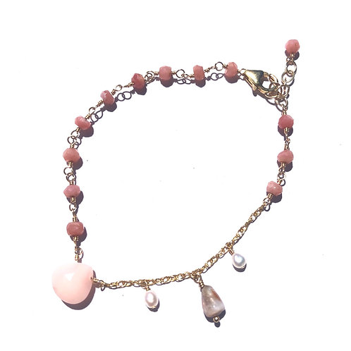 14KGF Pink Opal Charm Bracelet (4)