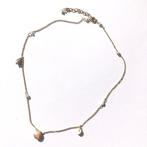 14KGF Peach Moonstone Charm Necklace