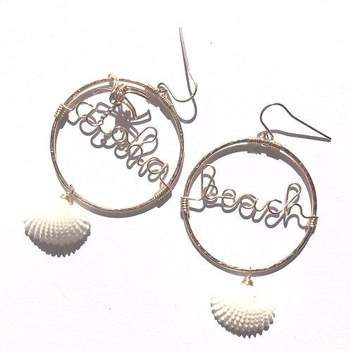 14KGF Round Hoop Aloha and Beach with Sea Shell Earrings