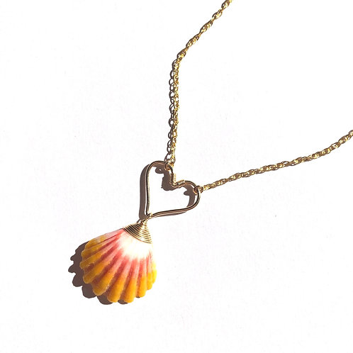 14KGF Heart with Hawaiian Sunrise Shell Necklace