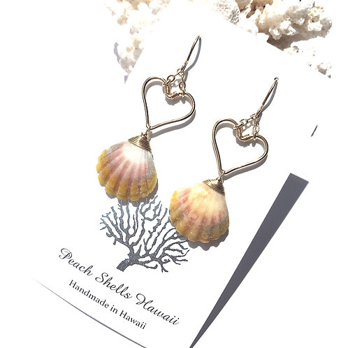 14KGF Heart Sunrise Shell Earrings (2)