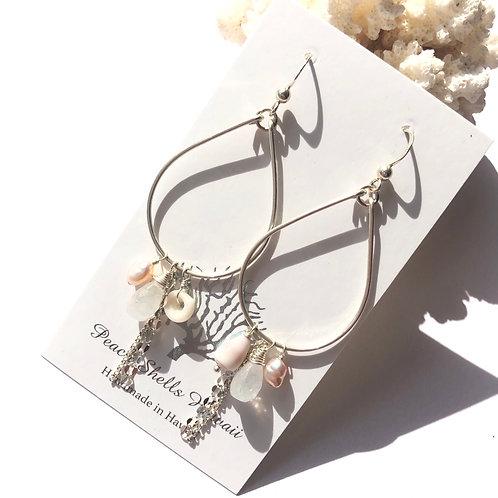 Sterling Silver Teardrop Charm Earrings Moonstone