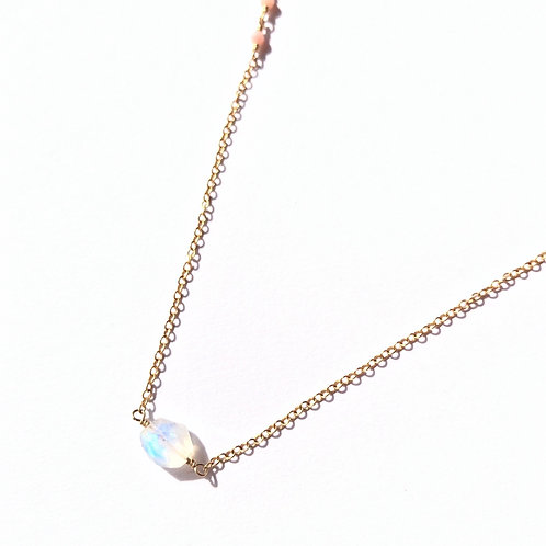14KGF Rainbow Moonstone And Pink Coral link Necklace