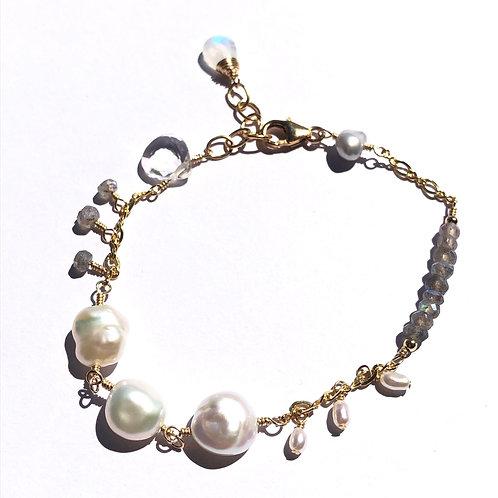 Keshi Pearl Link Bracelet
