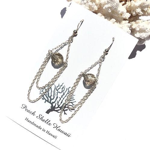 Sterling Silver Chain Draped Smokey Quartz Earrings