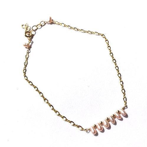 "14KGF Petite FW Pearls Anklet 9""-10"" Adjustable"
