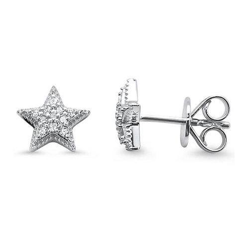 14k White Gold Star Stud Diamond Earrings