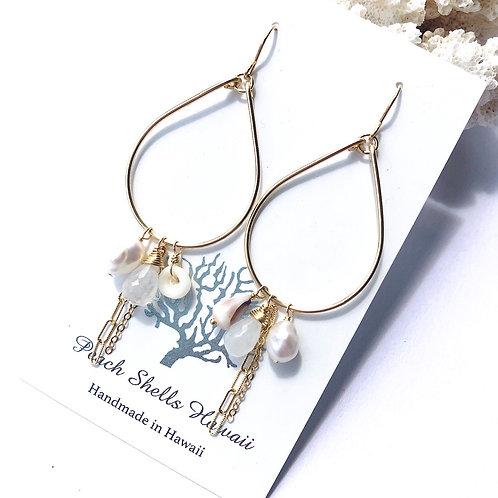 14KGF Teardrop Moonstone Charm Earrings (1)