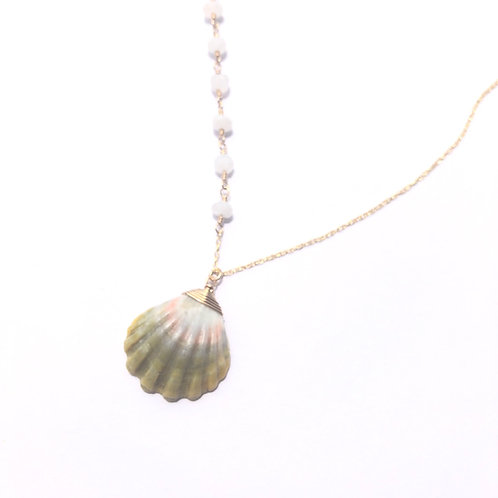14KT Gold Filled Hawaiian Sunrise Shell with Moonstone Links Necklace(3)