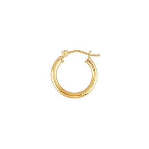 """14K Yellow Gold"" 15mm Round / 2mm Tubing Hoop Earrings"