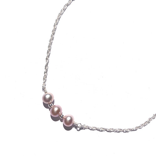 Sterling Silver 3 Pink Freshwater Pearl Necklace