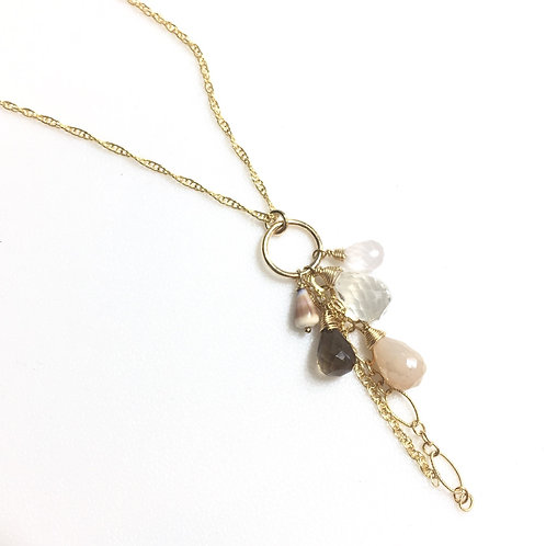 14KGF Hawaiian Cone Shell and Stone Long Necklace