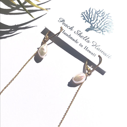White Keshi Pearl Earrings with 14KGF Chain Accents